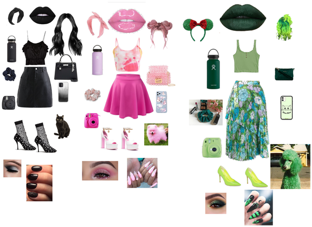 pink,black and green