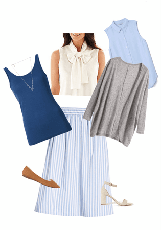 blue stripe skirt work