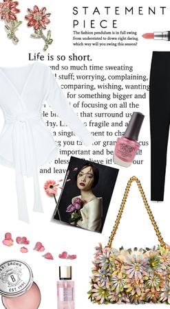 statement accessories:  earrings/purse