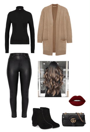 black turtleneck and black leather pants winter outfit