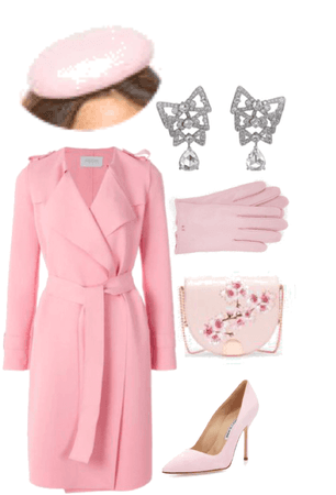 Light Pink Coat Outfit/w Fascinator