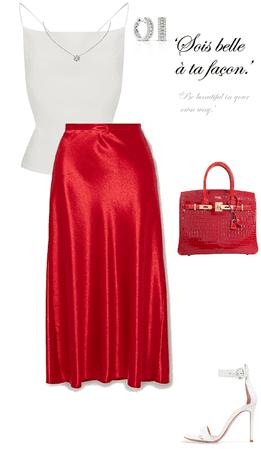 satin skirt with birkin bag