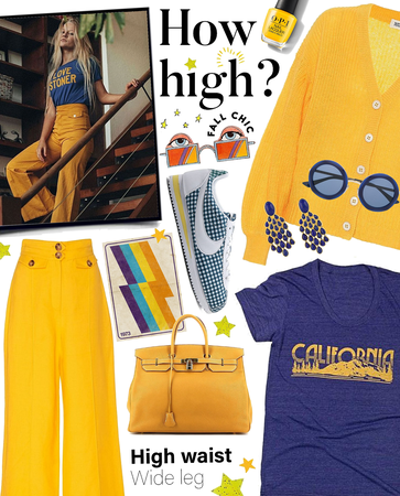 #falltrends #fall #fall2020 #casual #wideleg #highwaist #california #bold #yellow #blue #boho