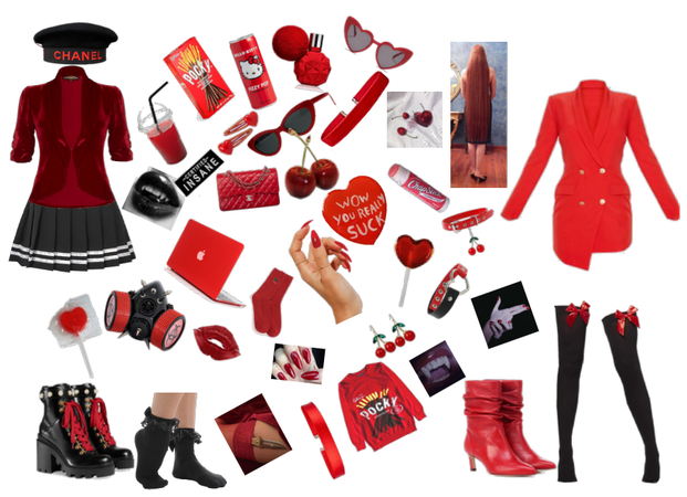 red/black mastermind oc fashion/mood board 1