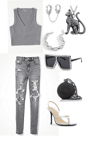 simple greyish outfit