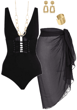 Black and Gold sexy swimsuit