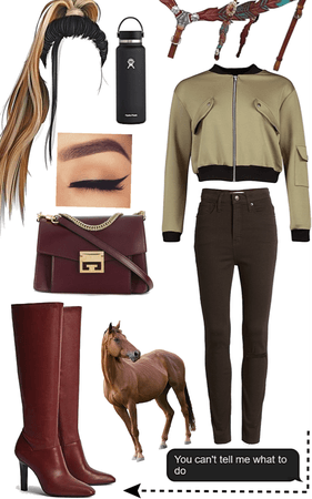 Horseriding with Maroon Boots