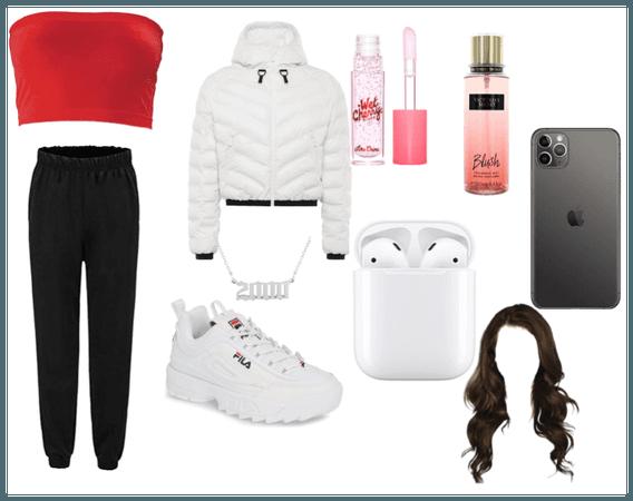 Comfy/baddie school outfit