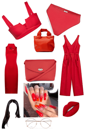 all red look!❤️