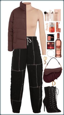 Puffer Jacket. Peach+Burgundy+Black