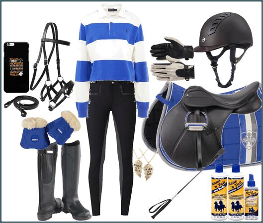 blue horse riding