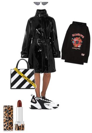 Grunge trench coat look