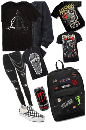 Back to school . Grunge . Emo . Gothic outfit