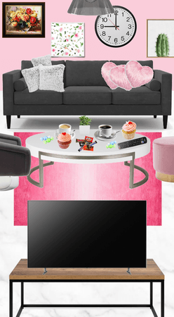 """""""Pink, grey and white living room"""""""