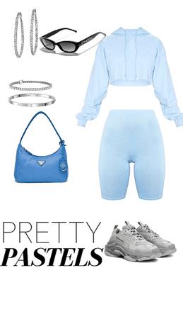 baby blue Prada and balenciaga casual