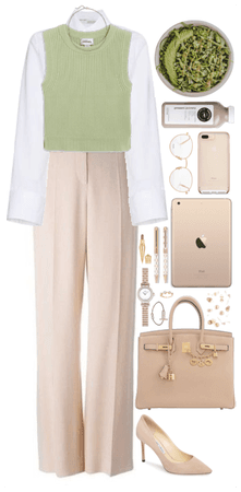 Office Style. Green + Beige
