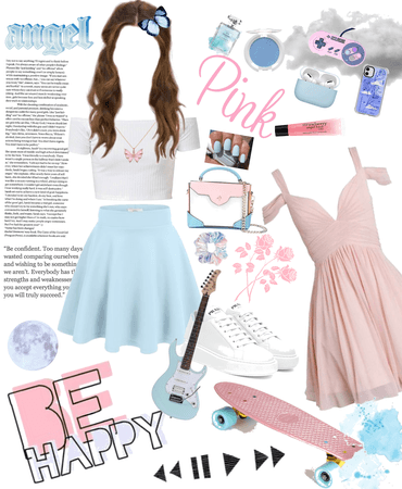 pastel pink/baby blue outfit