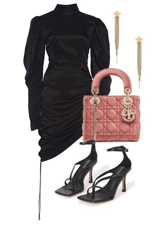 elegance black dress evening
