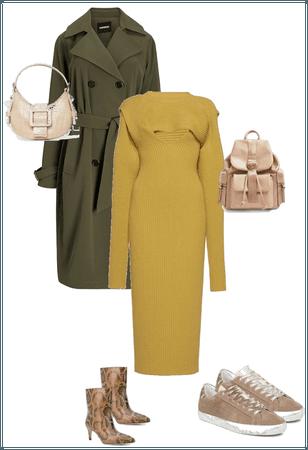 Midi knit dress + trench