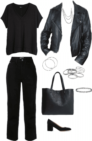 Outfit total Black accesorios plateados