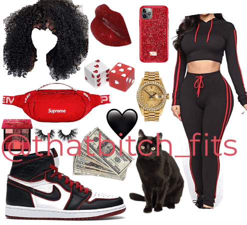 Black Red Active Two Piece Set
