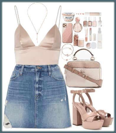 Denim Skirt + Pink