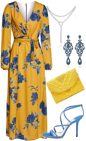 yellow and blue floral for spring