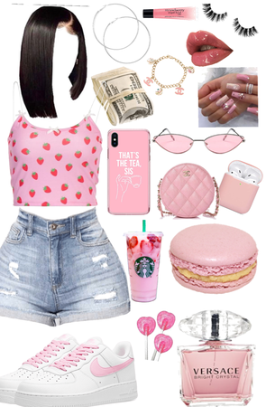 strawberry pink baddie outfit 🍓❤️