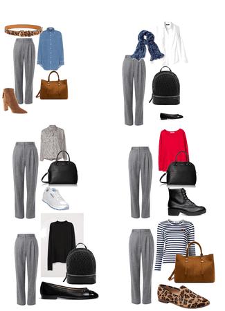 Six ways to wear gray pants