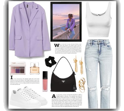 white crop tank + purple blazer with jeans