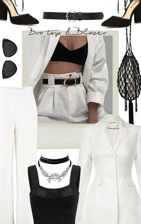 Black top White suit