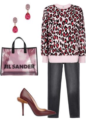 Pink leopard print sweater & black denim