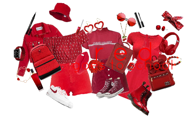 red: goes to school