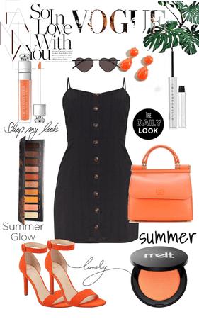 simple summer fit •orange-black•🧡🖤