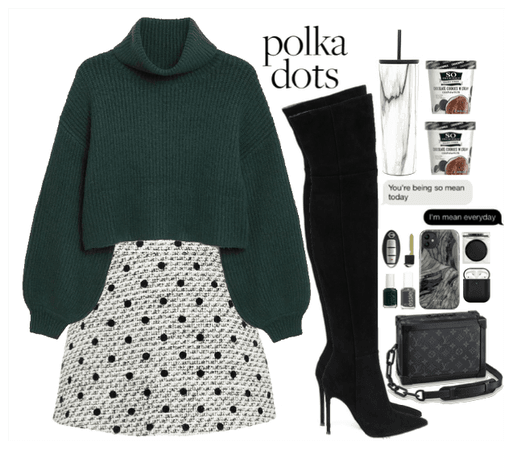 Polka Dots Style. Green+Black