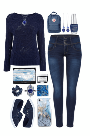 // sweater style: all blues //