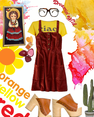 retro orange yellow red