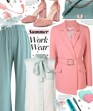 Pink And Teal Work Wear