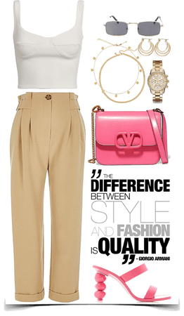 white leather top, brown pants , pink bag & heels