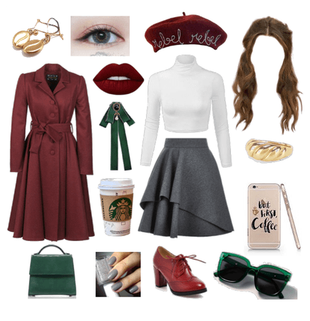 Green Red Coffee Look
