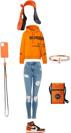 orange Burberry outfit