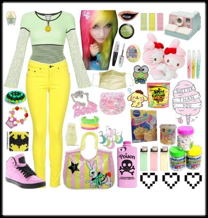 pastel yellow/green/pink scene kid