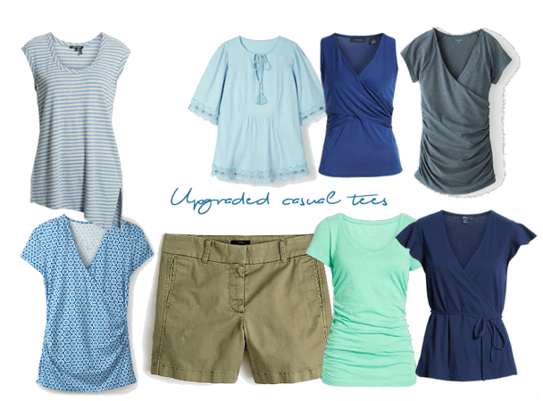 Upgraded casual tees - green and blue hues