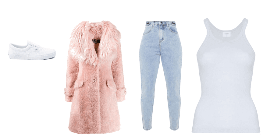 Fluffy coat outfit