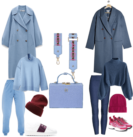 Blue with a touch of hot pink / burgundy