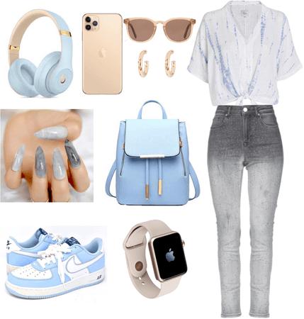 light blue / gold