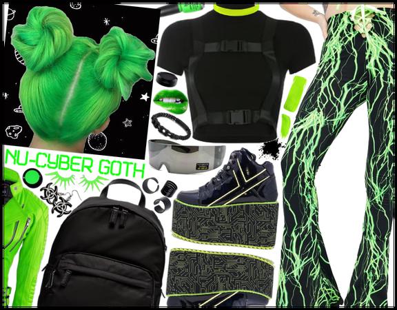 Nu-Cyber Goth: Black & Neon Green