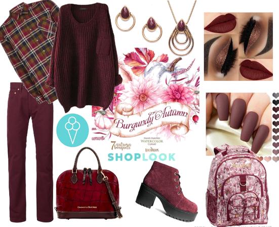 # Burgundy Autumn # shoplook # back to school
