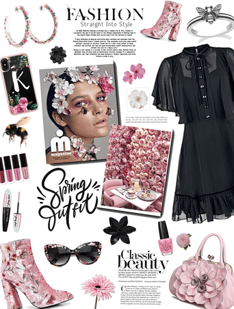 Spring Outfit/pink florals w a splash of black