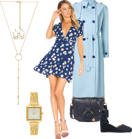 Blue Floral Dress Outfit!